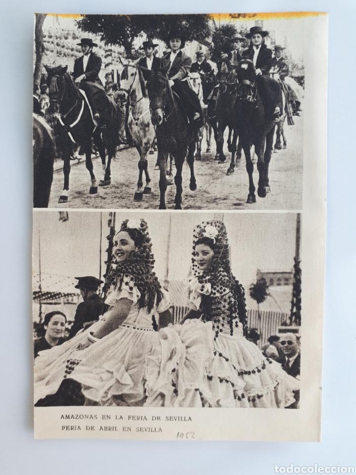 AMAZONAS EN LA FERIA DE SEVILLA / FERIA DE ABRIL EN SEVILLA / BAILANDO SEVILLANAS. 1952 (Coleccionismo - Laminas, Programas y Otros Documentos)