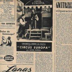 Coleccionismo: AÑO 1952 RECORTE PRENSA CIRCO CIRCUS EUROPA. Lote 162977002