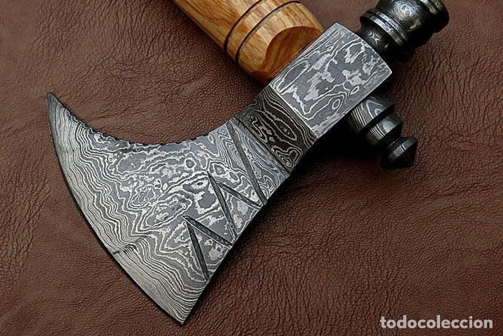 Coleccionismo: hacha en acero de damasco artesanal. 41cm largo - Foto 3 - 163529238
