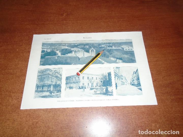 ANTIGUA LÁMINA 1908: ALBACETE. VISTA GENERAL. DIPUTACIÓN. AUDIENCIA TERRIT. CALLE SALAMANCA. (Coleccionismo - Laminas, Programas y Otros Documentos)