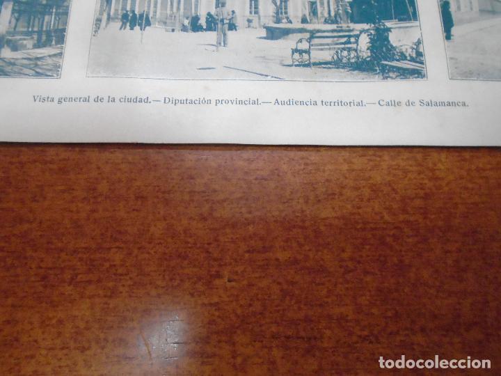 Coleccionismo: ANTIGUA LÁMINA 1908: ALBACETE. VISTA GENERAL. DIPUTACIÓN. AUDIENCIA TERRIT. CALLE SALAMANCA. - Foto 2 - 163761554