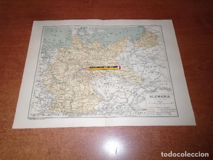 ANTIGUA LÁMINA 1908: MAPA DE ALEMANIA (Coleccionismo - Laminas, Programas y Otros Documentos)
