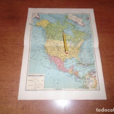 Coleccionismo: ANTIGUA LÁMINA 1908: MAPA POLÍTICO AMÉRICA DEL NORTE. MÉXICO. USA. CANADÁ.. Lote 163764226