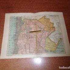 Coleccionismo: ANTIGUA LÁMINA 1908: MAPA POLÍTICO AMÉRICA DEL SUR. ARGENTINA, CHILE, URUGUAY, PARAGUAY. Lote 163764458