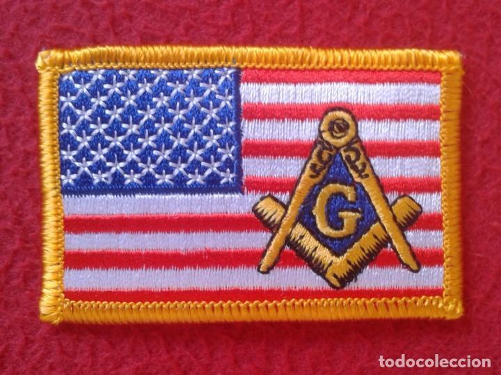 PARCHE PATCH MASONERÍA MASÓN MASONES MASONIC MASÓNICO BANDERA ESTADOS UNIDOS USA FLAG LOGIA LODGE G (Coleccionismo - Varios)