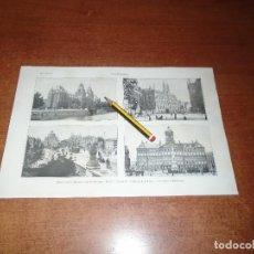 Coleccionismo: ANTIGUA LÁMINA 1908: AMSTERDAM. MUSEO REAL. CORREOS. PUENTE HOOGESLUIS. PALACIO REAL. PALACIO INDUST. Lote 163797598