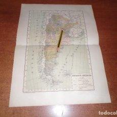 Coleccionismo: ANTIGUA LÁMINA 1908: MAPA DE LA REPÚBLICA ARGENTINA. Lote 163799462