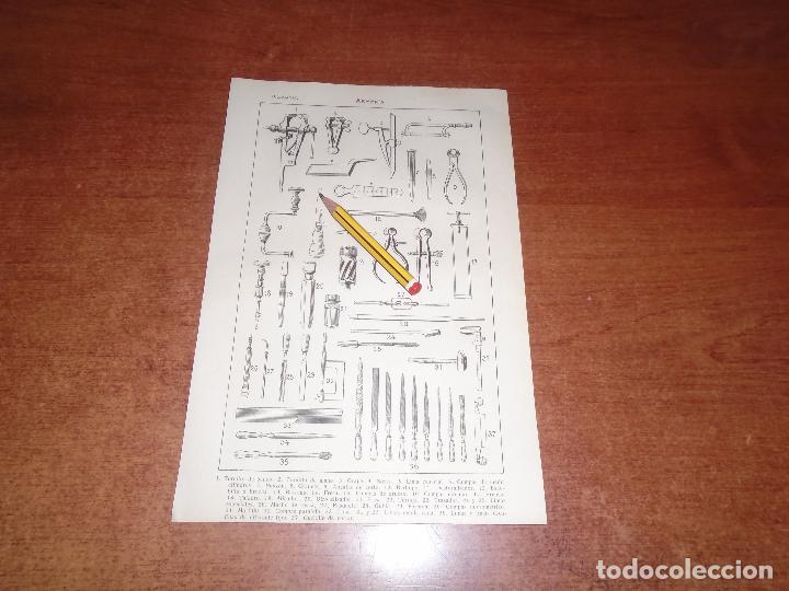 ANTIGUA LÁMINA 1908: ARMERÍA. HERRAMIENTAS. (Coleccionismo - Laminas, Programas y Otros Documentos)