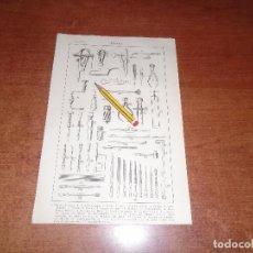 Coleccionismo: ANTIGUA LÁMINA 1908: ARMERÍA. HERRAMIENTAS.. Lote 163799746