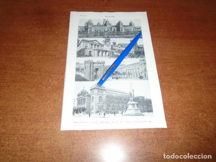 Coleccionismo: ANTIGUA LÁMINA 1908: BARCELONA. VISTA CIUDAD. P. JUSTICIA. LONJA. UNIVERSIDAD. ADUANA. SAGRADA FAMIL - Foto 2 - 163801334