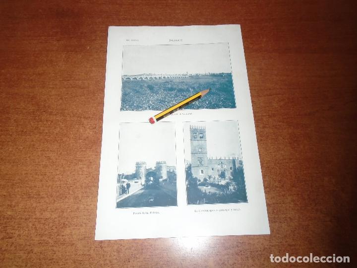 ANTIGUA LÁMINA 1908: BADAJOZ. VISTA CIUDAD. PTA. DE LAS PALMAS. CATEDRAL. (Coleccionismo - Laminas, Programas y Otros Documentos)