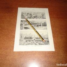 Coleccionismo: ANTIGUA LÁMINA 1908: CÁDIZ. VISTA GENERAL. ENTRADA A LA CIUDAD. PLAZA DE ABASTOS. . Lote 164337810