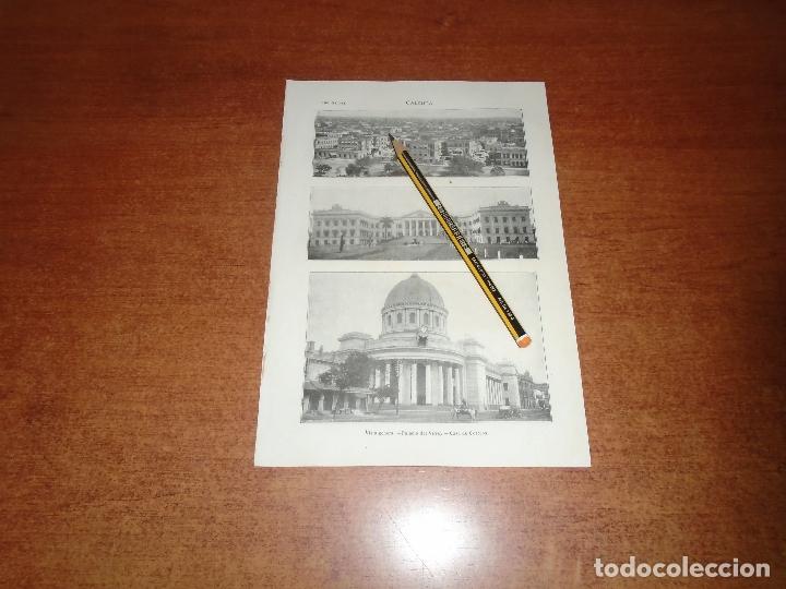 ANTIGUA LÁMINA 1908: CALCUTA. VISTA GENERAL. PALACIO DEL VIRREY. CASA DE CORREOS. (Coleccionismo - Laminas, Programas y Otros Documentos)
