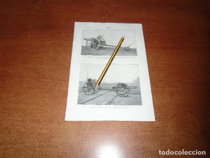 ANTIGUA LÁMINA 1908 CAÑÓN. DE CAMPAÑA 7,62 C/M. DE CAMPAÑA CON CAJA DE MUNICIONES. SISTEMA KRUPP 7/5 (Coleccionismo - Laminas, Programas y Otros Documentos)