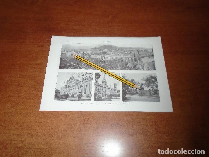 ANTIGUA LÁMINA 1908 CARACAS. VISTA CIUDAD. CAPITOLIO. UNIVERSIDAD. PASEO DE LA INDEPENDENCIA. (Coleccionismo - Laminas, Programas y Otros Documentos)