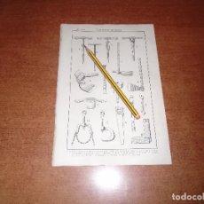 Coleccionismo: ANTIGUA LÁMINA 1908 CARPINTERÍA DE ARMAR. HERRAMIENTAS.. Lote 164342854