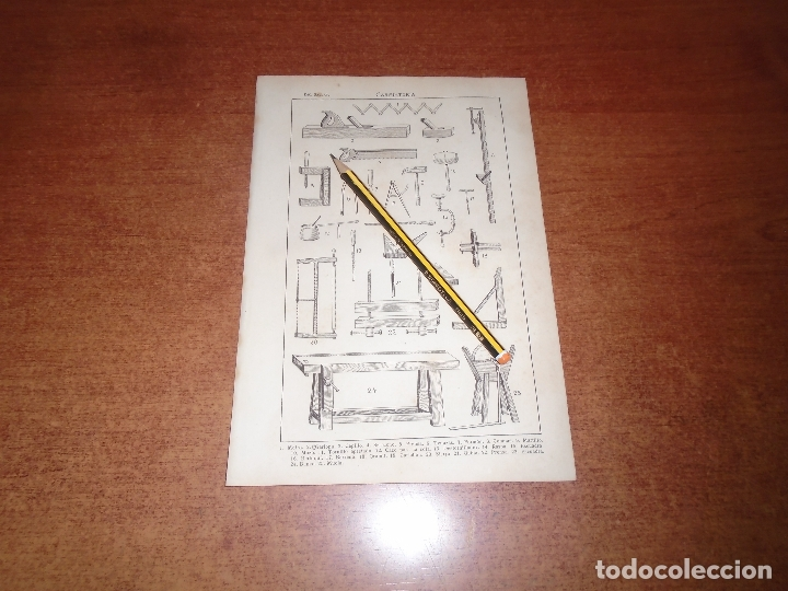 ANTIGUA LÁMINA 1908 CARPINTERÍA. HERRAMIENTAS. (Coleccionismo - Laminas, Programas y Otros Documentos)