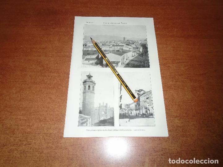 ANTIGUA LÁMINA 1908 CASTELLÓN DE LA PLANA. VISTA GENERAL. CALLE CASTELAR. IGLESIA STA. MARÍA Y PLAZA (Coleccionismo - Laminas, Programas y Otros Documentos)
