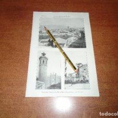 Coleccionismo: ANTIGUA LÁMINA 1908 CASTELLÓN DE LA PLANA. VISTA GENERAL. CALLE CASTELAR. IGLESIA STA. MARÍA Y PLAZA. Lote 164343282