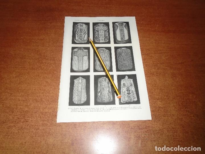 ANTIGUA LÁMINA 1908 CASULLA. CASULLA DE CHIRINOS EN CARAVACA (MURCIA). CASULLA CATALANA ÉPOCA OJIVAL (Coleccionismo - Laminas, Programas y Otros Documentos)