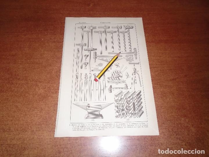 ANTIGUA LÁMINA 1908: CERRAJERÍA. HERRAMIENTAS E INSTRUMENTOS. (Coleccionismo - Laminas, Programas y Otros Documentos)