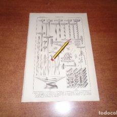 Coleccionismo: ANTIGUA LÁMINA 1908: CERRAJERÍA. HERRAMIENTAS E INSTRUMENTOS.. Lote 164344750