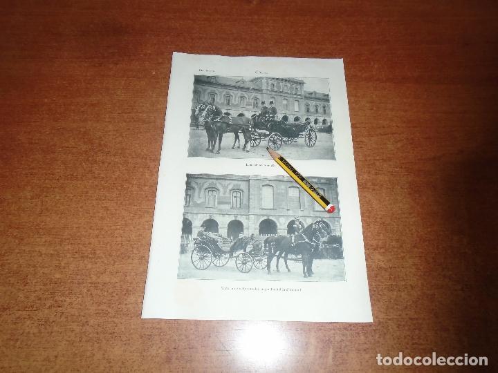ANTIGUA LÁMINA 1908 COCHE. LANDÓ DE OCHO MUELLES. VICTORIA ENGANCHADO A LA D'AUMONT (Coleccionismo - Laminas, Programas y Otros Documentos)