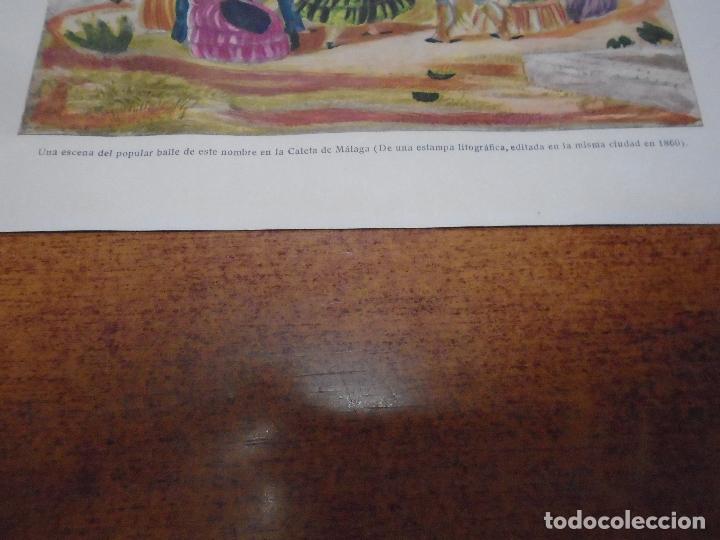 Coleccionismo: ANTIGUA LÁMINA 1908 BOLERO. ESCENA DE BAILE EN LA CALETA DE MÁLAGA - Foto 2 - 164347266