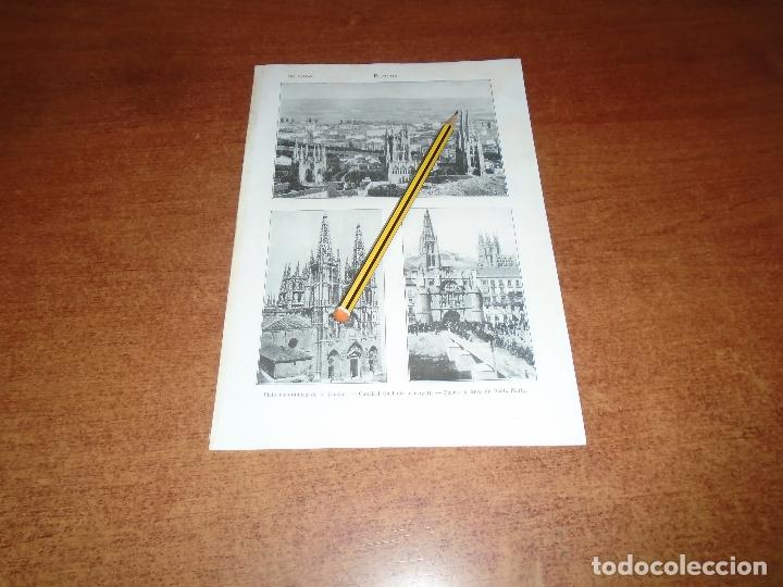 ANTIGUA LÁMINA 1908: BURGOS. VISTA CIUDAD. CATERAL. PUENTE Y ARCO DE SANTA MARÍA. (Coleccionismo - Laminas, Programas y Otros Documentos)