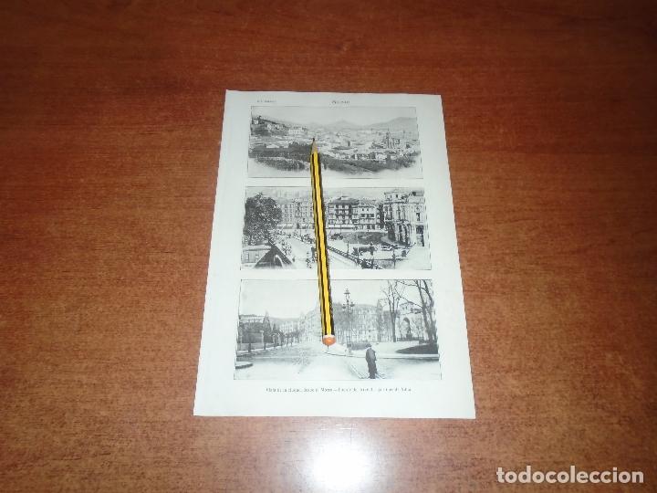 ANTIGUA LÁMINA 1908: BILBAO. VISTA DESDE EL MORRO. PUENTE DEL ARENAL. JARDINES DE ALBIA. (Coleccionismo - Laminas, Programas y Otros Documentos)