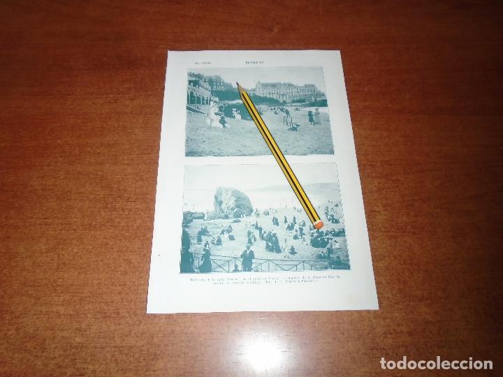 ANTIGUA LÁMINA 1908: BIARRITZ. BALNEARIO. PLAYA. (Coleccionismo - Laminas, Programas y Otros Documentos)