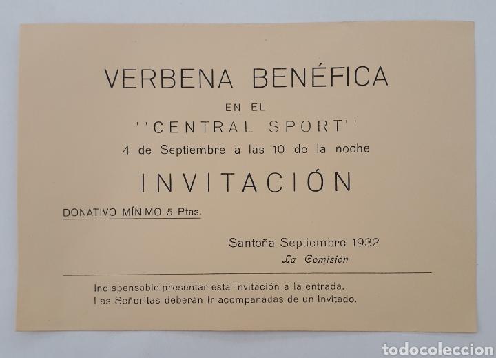 SANTOÑA. VERBENA BENÉFICA EN EL CENTRAL SPORT. 4 DE SEPTIEMBRE 1932 (Coleccionismo - Laminas, Programas y Otros Documentos)