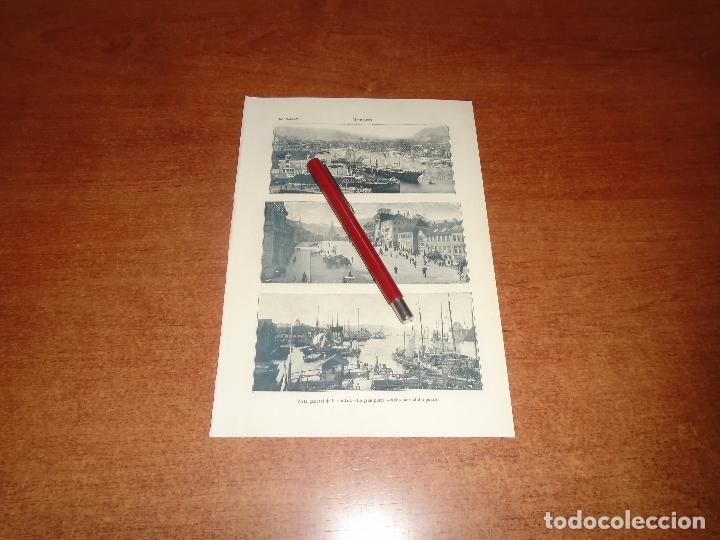 ANTIGUA LÁMINA 1908: BERGEN. VISTA GENERAL. LA GRAN PLAZA. PUERTO (Coleccionismo - Laminas, Programas y Otros Documentos)