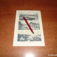 Coleccionismo - ANTIGUA LÁMINA 1908: BERGEN. VISTA GENERAL. LA GRAN PLAZA. PUERTO - 164769782