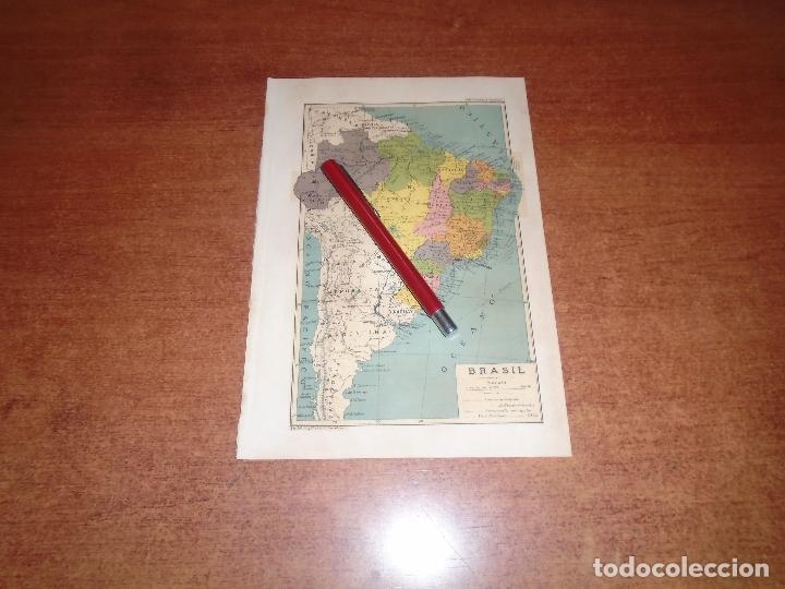 ANTIGUA LÁMINA 1908: MAPA DE BRASIL (Coleccionismo - Laminas, Programas y Otros Documentos)