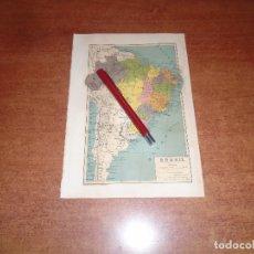 Collecting paper - ANTIGUA LÁMINA 1908: MAPA DE BRASIL - 164769914