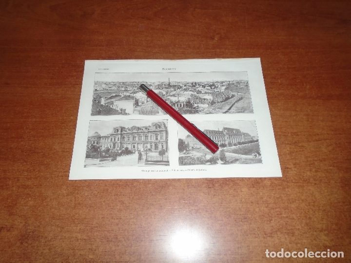 ANTIGUA LÁMINA 1908: BUCAREST. VISTA CIUDAD. PALACIO REAL. PALACIO DE JUSTICIA. (Coleccionismo - Laminas, Programas y Otros Documentos)