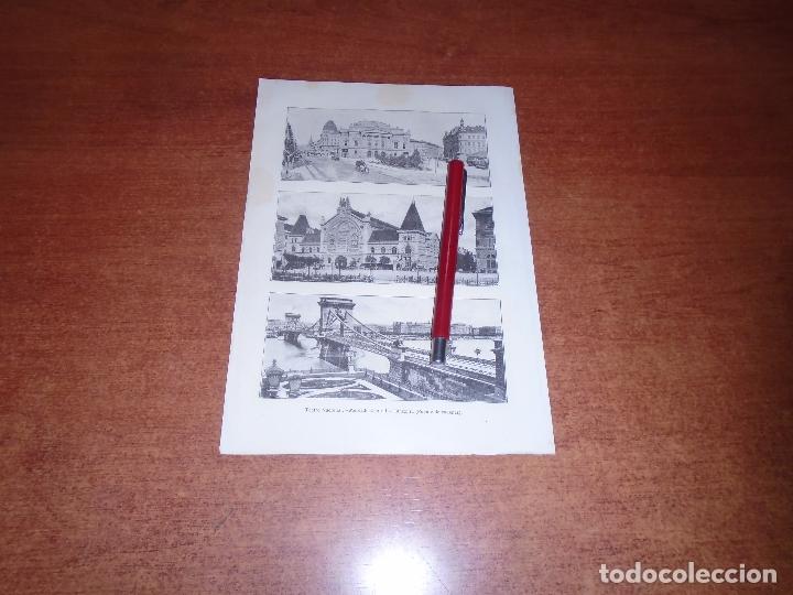 Coleccionismo: ANTIGUA LÁMINA 1908: BUDAPEST. AVDA. ELISABETH. PALACIO REAL Y DE JUSTICIA. TEATRO NACIONAL. MERCADO - Foto 2 - 164770126