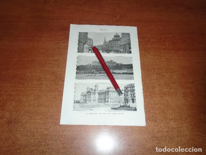 ANTIGUA LÁMINA 1908: BUDAPEST. AVDA. ELISABETH. PALACIO REAL Y DE JUSTICIA. TEATRO NACIONAL. MERCADO (Coleccionismo - Laminas, Programas y Otros Documentos)