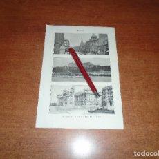 Coleccionismo: ANTIGUA LÁMINA 1908: BUDAPEST. AVDA. ELISABETH. PALACIO REAL Y DE JUSTICIA. TEATRO NACIONAL. MERCADO. Lote 164770126