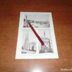Coleccionismo - ANTIGUA LÁMINA 1908: BURDEOS. COLUMNAS ROSTRALES Y MUELLES DEL NORTE. CATEDRAL PALACIO DE L'OMBRERIE - 164770170