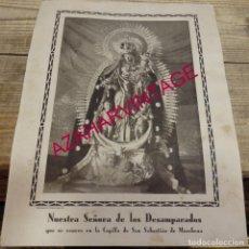 Coleccionismo: MARCHENA, SEVILLA, AÑOS 40,. RARISIMA LAMINA LITOGRAFIADA NTRA.SRA. DE LOS DESAMPARADOS,235X320MM. Lote 165022214