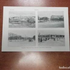 Coleccionismo: ANTIGUA LÁMINA 1914. MADRID. VISTA GENERAL. Pº DE SAN VICENTE Y PALACIO REAL. SALÓN DEL PRADO. PUENT. Lote 165135722
