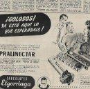Coleccionismo: AÑO 1954 RECORTE PRENSA PUBLICIDAD CHOCOLATES ELGORRIAGA PRALINECTAR. Lote 165257754