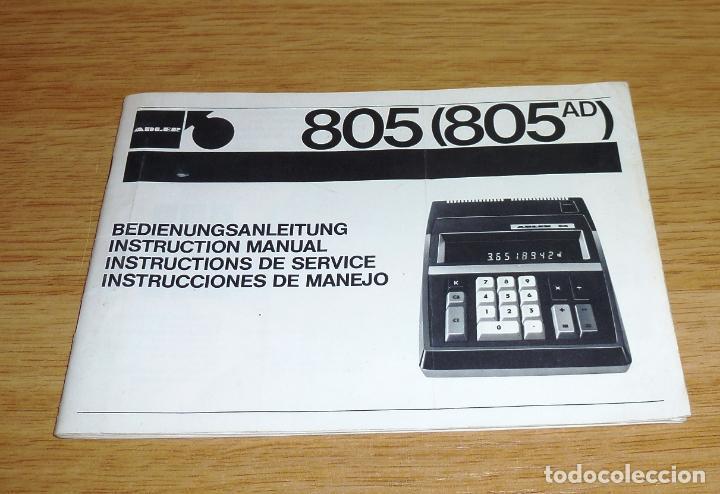 MANUAL PARA LA CALCULADORA ELECTRONICA - ADLER 805.AÑOS 70. (Coleccionismo - Laminas, Programas y Otros Documentos)