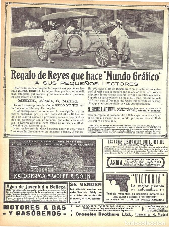 1912 HOJA REVISTA MADRID AUTOMÓVIL COCHE DE JUGUETE REGALO A PEQUEÑOS LECTORES CASA MEDEL (Coleccionismo - Varios)