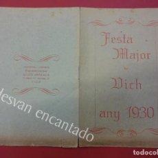 Coleccionismo: FESTA MAJOR VICH ANY 1930. Lote 165368850