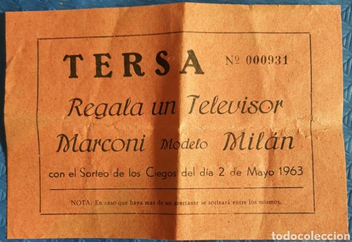 BOLETO PARTICIPACION TERSA REGALA UN TELEVISOR MARCONI 1963 (Coleccionismo - Laminas, Programas y Otros Documentos)