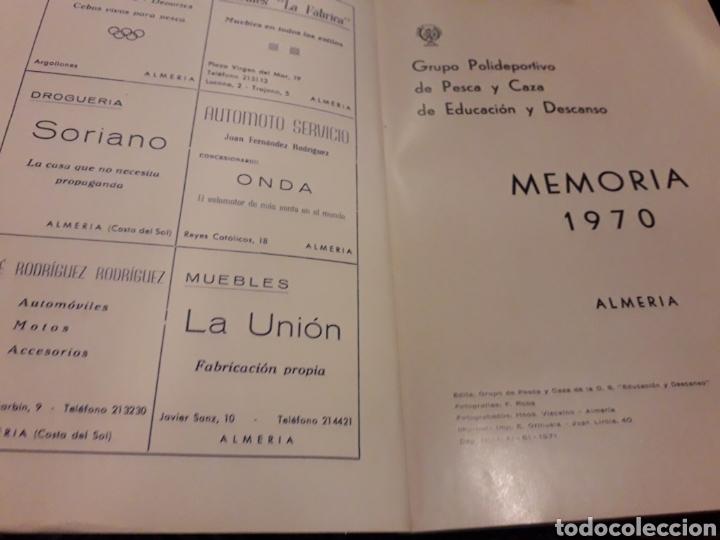 Coleccionismo: Memoria. Polideportivo de pesca y caza año 1970 Almeria - Foto 2 - 166525358