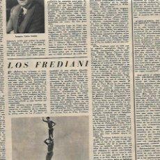 Coleccionismo: AÑO 1955 RECORTE PRENSA LOS FREDIANI ACROBACIAS CIRCO ACROBATAS A CABALLO. Lote 166795070